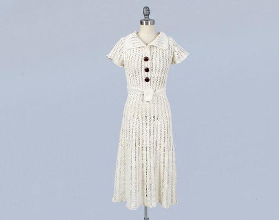 RESERVED —1930s Dress/ 30s White Knit Dress / Cott