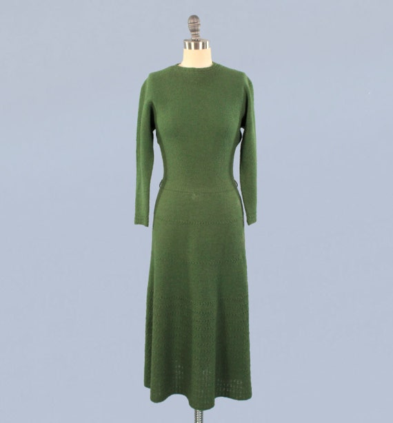 1940s Dress / 40s Forest Green Knit Dress