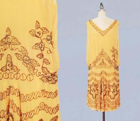 1920s Dress / 20s Flapper Dress BEADED Silk Chiff… - image 4