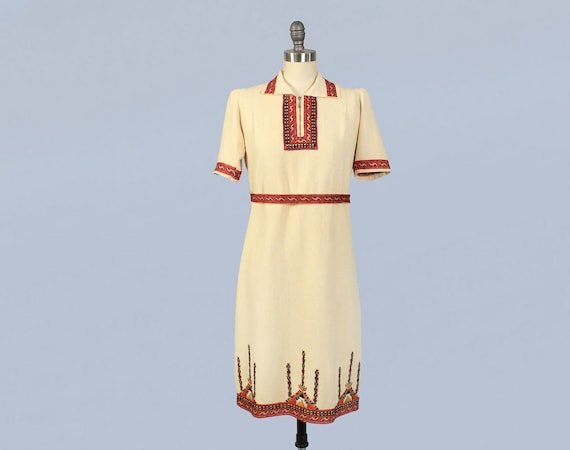 1930s Dress / 30s Embroidered Folk Dress / Petite
