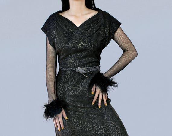 Rare 1930s Dress/ 30s Black and Silver Metallic La