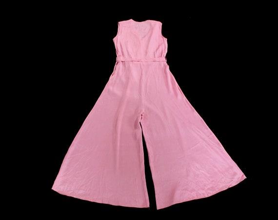 Rare! 1930s Beach Pajamas  / 30s PINK Pj Jumpsuit… - image 4