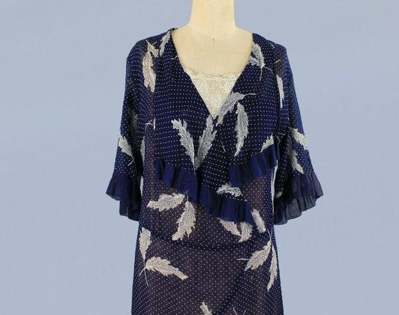 1920s Dress / 20s Lightweight Semi Sheer Leaf Pri… - image 5
