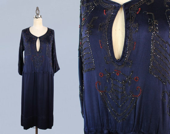 1920s Dress / 20s EGYPTIAN REVIVAL Beaded Embroid… - image 1