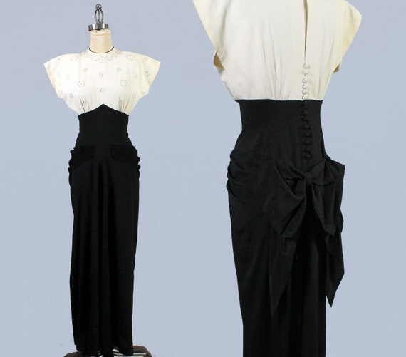 1940s Gown / 40s Color Block Black and White Drap… - image 1