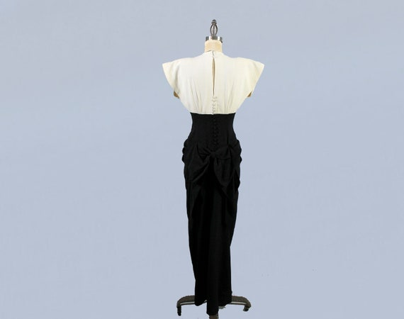 1940s Gown / 40s Color Block Black and White Drap… - image 8