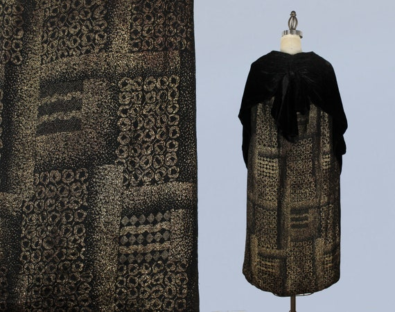 1920s Coat / 20s Gold Lame Cape / Silk Velvet / Bl