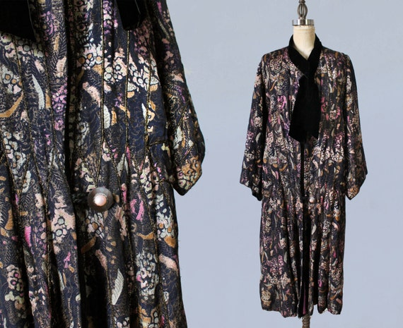 1920s Coat / 20s Printed Floral Lamé Coat/ Rare! /