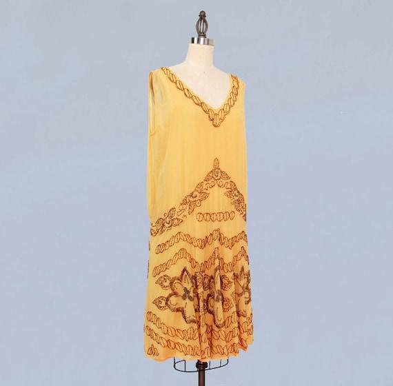 1920s Dress / 20s Flapper Dress BEADED Silk Chiff… - image 2
