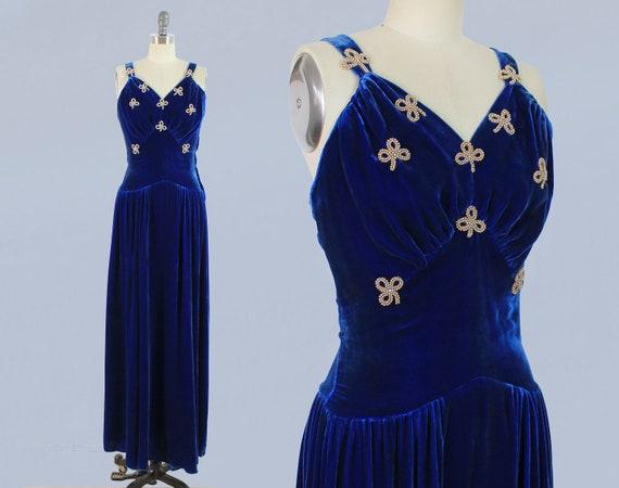 1930s Dress / 30s 40s Blue Silk Velvet Gown / Bead