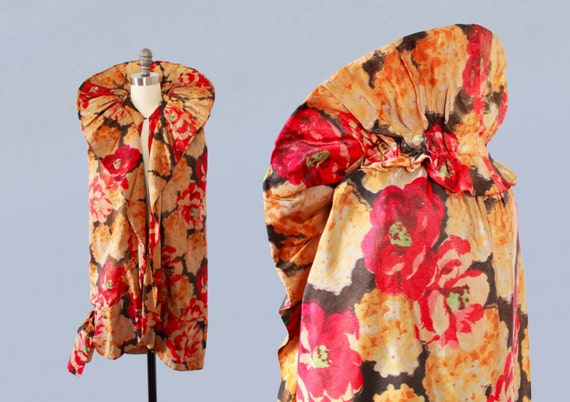 1920s Flapper Coat / 20s Floral Lame Cocoon Cape /