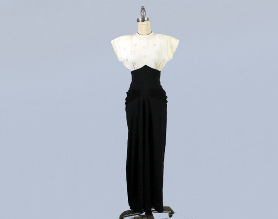 1940s Gown / 40s Color Block Black and White Drap… - image 2