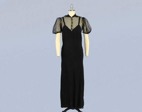 1930s Dress / 30s Illusion Mesh and Crepe Gown / P