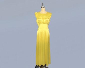 1930s Dress / 30s CHARTREUSE Liquid Satin Gown / Slip Dress