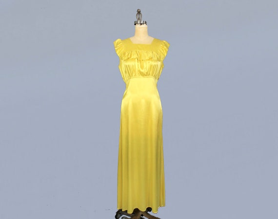 1930s Dress / 30s CHARTREUSE Liquid Satin Gown / S
