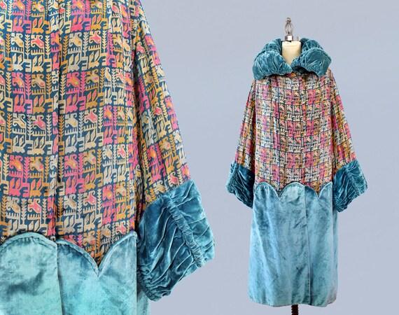 1920s Coat / 20s REVERSIBLE Abstract Metallic Lamé