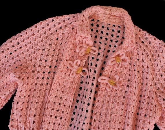 1930s Knit Sweater / 30s Pink Knit Jacket / Cardi… - image 5