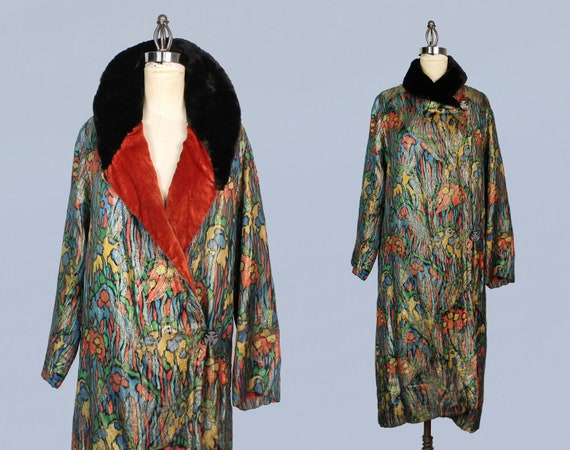 1920s Coat / 20s Printed Abstract Lamé Coat/ Rare!