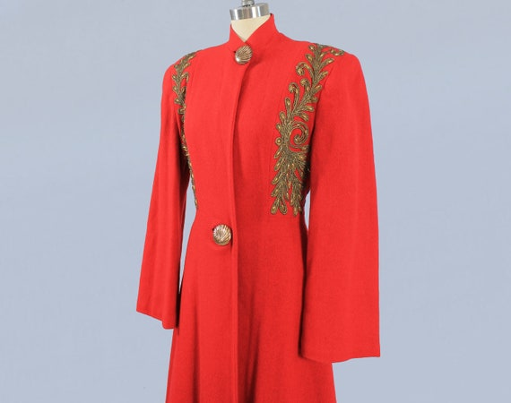 1940s Coat / 40s Winter Red Princess Coat / Gold S