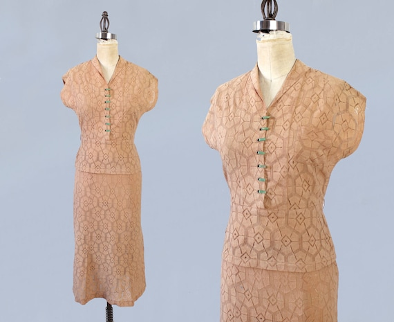 RARE 1930s Suit! / 30s Two Piece Lace Suit Dress /