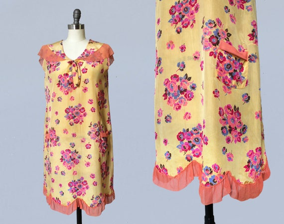 1920s Dress / 20s Floral Silk Dress / Pink Chiffon
