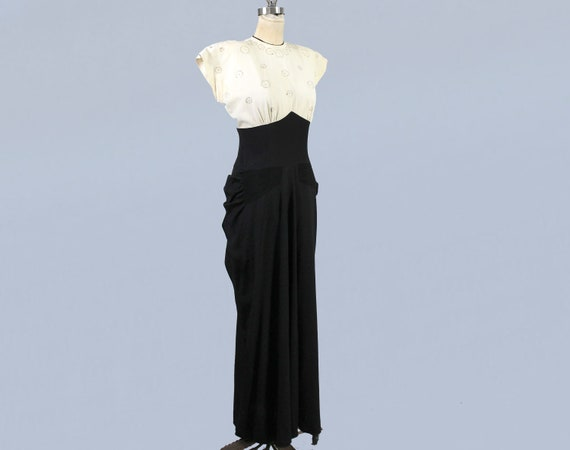 1940s Gown / 40s Color Block Black and White Drap… - image 6