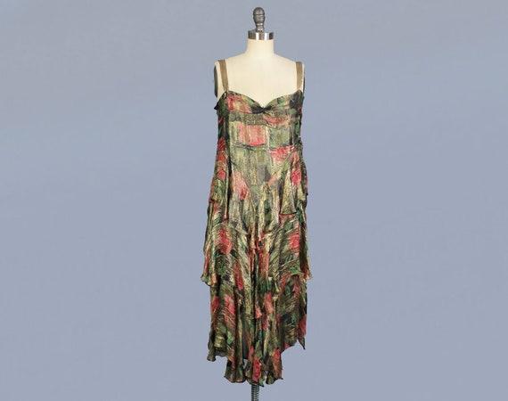 Rare!! 1920s Dress / 20s Floral Metallic LAMÉ Dres
