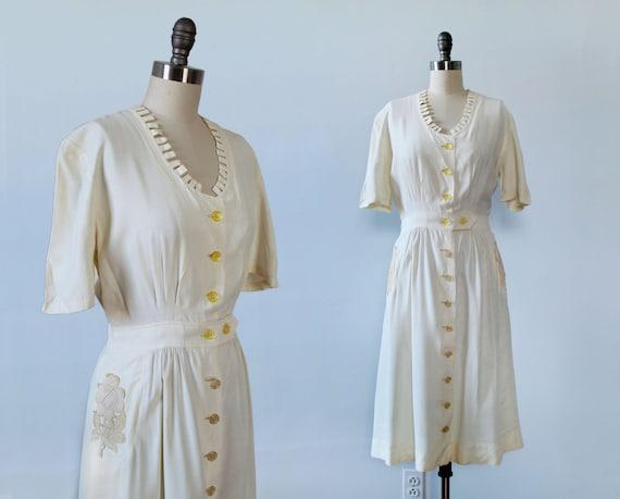 1940s Dress / White 40s Crochet Pocket Dress / Jig