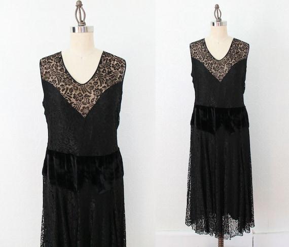 1920s Dress / Lace Illusion Dress / Velvet Dropped
