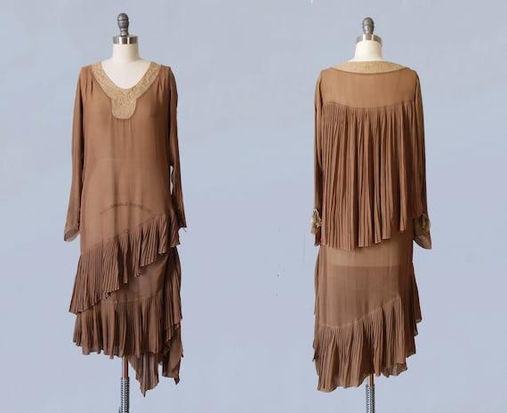 1920s Dress / 20s Coffee Chiffon CAPE Back Flapper