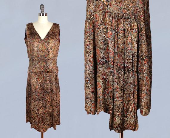 RARE!! 1920s Dress / 20s Metallic Lamé Dress / Pai
