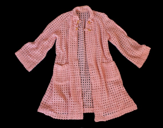 1930s Knit Sweater / 30s Pink Knit Jacket / Cardig
