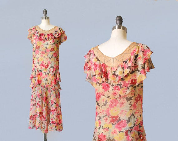 1920s Dress / 20s Floral Chiffon Dress / Lace Trim