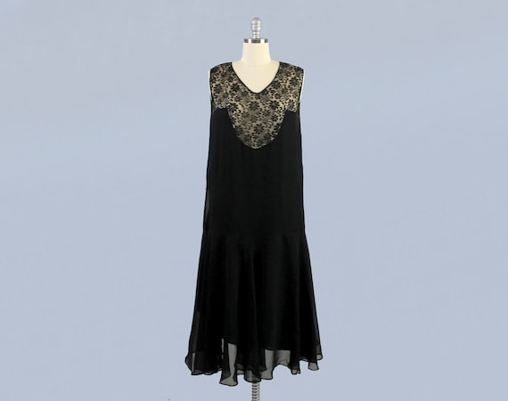 1920s Dress / 20s Illusion Lace Witchy Dress / Art