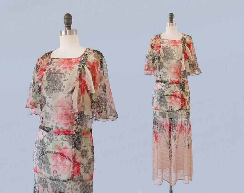 1930s Dress 30s Sheer Silk Chiffon Floral Dress Zig Zag Lace Hem