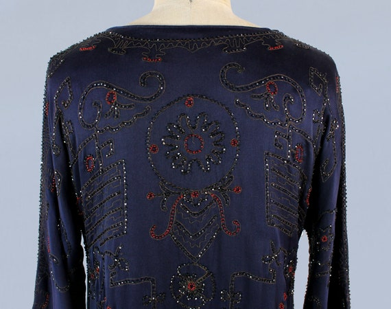 1920s Dress / 20s EGYPTIAN REVIVAL Beaded Embroid… - image 7