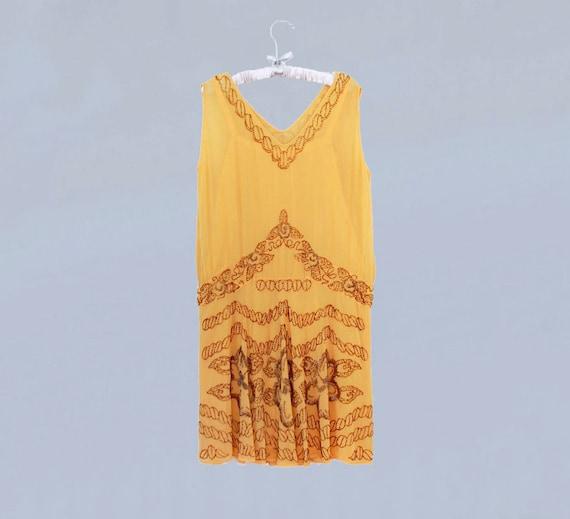 1920s Dress / 20s Flapper Dress BEADED Silk Chiff… - image 5