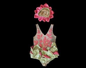 RARE Antique Girls Costume / 1920s Tinsel Hot Pink Foil on Net / Satin 3D Petal Leaf Bodysuit and Hat Set