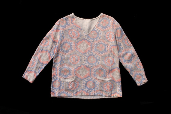 1920s Blouse / 20s Cotton Geometric Cross Stitch B
