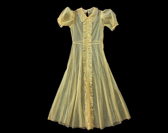 1930s Dress / 30s Yellow Mesh Net Gown / Puffed Sl