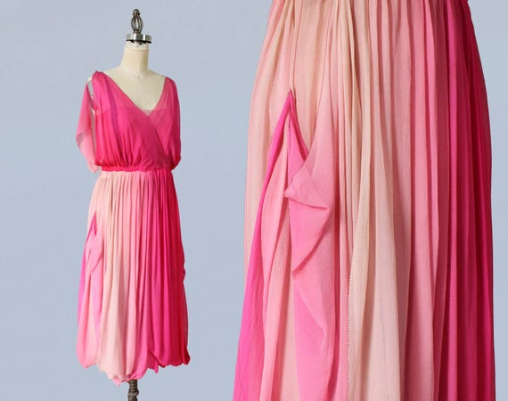 RARE!!! 1920s Dress / 20s Layered Ombre Pink Dress