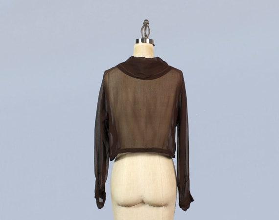 1920s Blouse / 20s Sheer Silk Chiffon Beaded Embr… - image 3