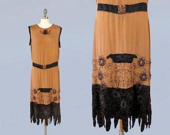 1920s Dress / 20s BEADED Witchy Hem Dress