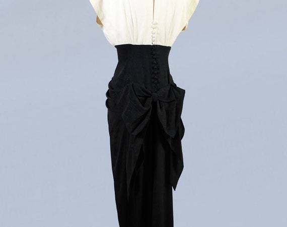 1940s Gown / 40s Color Block Black and White Drap… - image 9