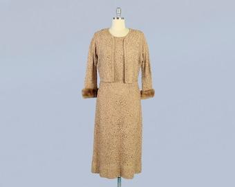 1940s Dress / 40s RIBBON Dress / Ribbon Lace Soutache Dress and Jacket Set / Fur Trim