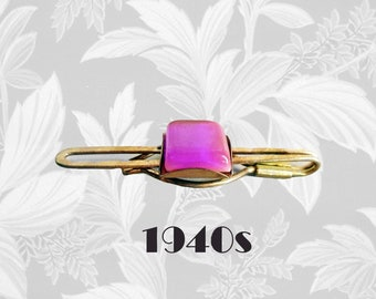 Mens 40s Vintage Tie Bar Cool IRIDESCENT Purple Necktie Clip Unusual Retro Lucite Rockabilly Accessory in Jewelry Gift Box