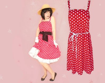 cc71c11d4a0 Plus Size 50s Style Sundress Retro Rockabilly Cotton XL Fit and Flare Dress  Red White Polka Dots