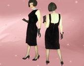 50s Black Velvet Sheath Medium Vintage Little Black Dress Classic Elegant Minimalist LBD with Low Back