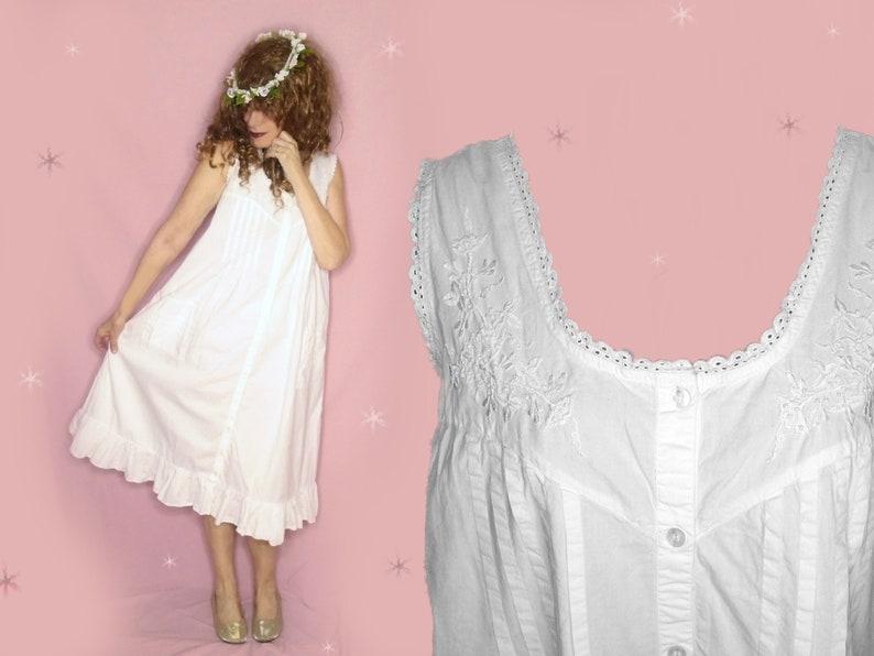 Vintage White Cotton Nightgown 70s Pretty Summer Midi Poet  370aa4581
