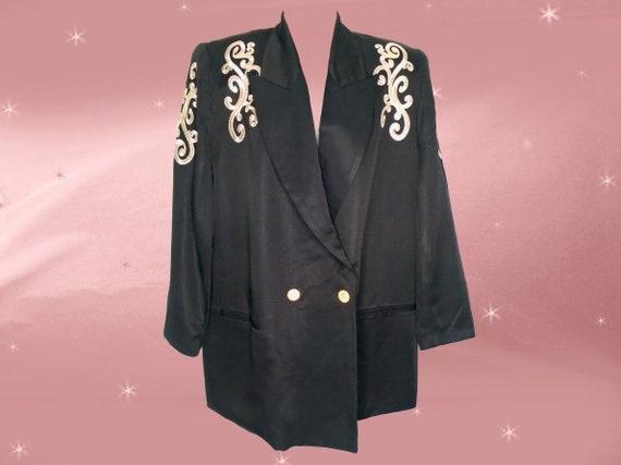 Plus Size 80s Vintage Black Dressy Blazer XL Fancy